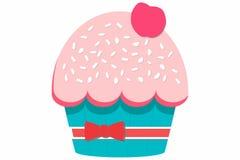 Petit gâteau avec la cerise illustration stock