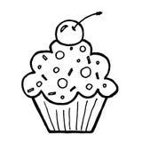 Petit gâteau avec la cerise sur le fond blanc Photos stock