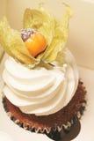 Petit gâteau avec le coqueret comestible Photos libres de droits