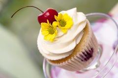 Petit gâteau avec les cerises et la fleur Image libre de droits