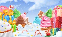 Petit gâteau, boîte-cadeau Paysage de bonbon à hiver Fond de Noël vecteur 3d Photo libre de droits