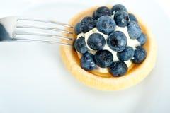 Petit gâteau crème de myrtille Photographie stock