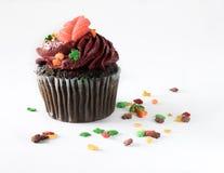 Petit gâteau d'isolement de chocolat avec le givrage de Bourgogne Photo stock