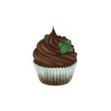 Petit gâteau de chocolat avec la menthe Image libre de droits