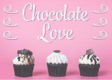 Petit gâteau de chocolat avec le concept d'amour de chocolat sur le rose Image stock