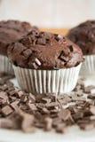 Petit gâteau de chocolat couvert de miettes de chocolat Image libre de droits