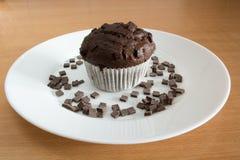 Petit gâteau de chocolat couvert de miettes de chocolat Photos stock