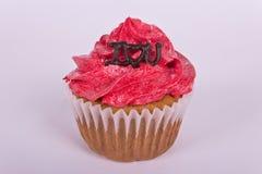 Petit gâteau de Saint-Valentin avec je t'aime le message Images stock
