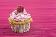 Petit gâteau de vanille avec le givrage et la framboise roses Photos stock
