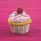 Petit gâteau de vanille avec le givrage et la framboise roses Photographie stock libre de droits