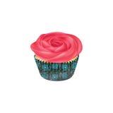 Petit gâteau de vanille avec le glaçage rose de buttercream Images libres de droits