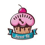 Petit gâteau de vecteur avec des échelles, icône de logo Concept pour la nourriture de régime, Ba Photographie stock libre de droits