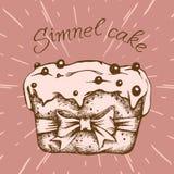 Petit gâteau doux avec de la crème Placez de l'inscription de vintage de cartes de vecteur Attraction de main Illustration Libre de Droits
