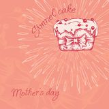 Petit gâteau doux avec de la crème Placez de l'inscription de vintage de cartes de vecteur Attraction de main illustration de vecteur