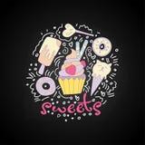 Petit gâteau doux de bande dessinée d'amusement avec coloré se givrer et fraise Icône de petit gâteau de bande dessinée avec des  illustration de vecteur