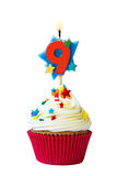 Petit gâteau du numéro neuf Photos stock
