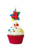 Petit gâteau du numéro quatre Images stock