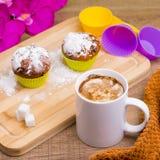 Petit gâteau lumineux avec du sucre glace et le chocolat Photographie stock