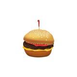 Petit gâteau mignon d'hamburger sur le fond blanc Photo stock