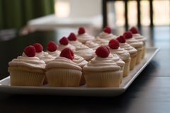 Petit gâteau rose de petits gâteaux de vanille avec le désert de givrage délicieux Photo stock