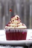 Petit gâteau rouge de velours dans la neige avec le coeur arrosant vers le bas Images libres de droits