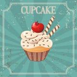 Petit gâteau sur le fond de vintage - illustration Photographie stock