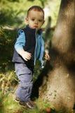 Petit garçon à l'extérieur images stock