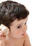 Petit garçon écoutant des sons de seashell, d'isolement image libre de droits
