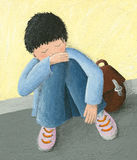 Petit garçon abandonné Photo stock