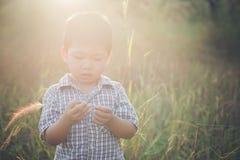Petit garçon asiatique heureux jouant dehors Appréciez la durée Asiatique mignon photos libres de droits