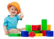 Petit garçon avec des modules  Photo stock