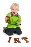 Petit garçon avec du chocolat de Duth Sinterklaas photo libre de droits