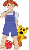Petit garçon avec l'ours et la bille Photographie stock libre de droits