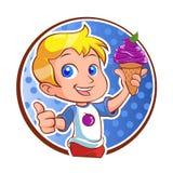 Petit garçon avec la crême glacée Images libres de droits