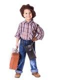 Petit garçon avec la vieille valise Photos libres de droits