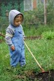 Petit garçon avec le râteau Images stock