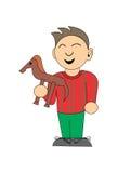 Petit garçon avec un cheval de jouet Photos stock