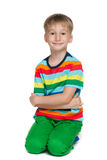 Petit garçon blond de sourire images stock
