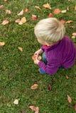 Petit garçon blond jouant sur l'herbe verte Image stock