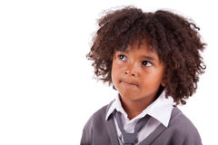 Petit garçon d'afro-américain pensif photo libre de droits