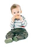 Petit garçon dans le pull de bande images libres de droits