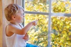 Petit garçon de trois ans regardant hors de la fenêtre Photo libre de droits