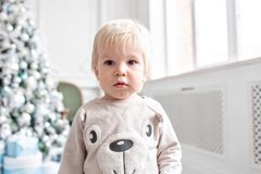 Petit garçon de verticale An neuf heureux Arbre de Noël décoré Matin de Noël dans le salon lumineux se reposer sur le vert image stock