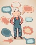 Petit garçon drôle avec des bulles de la parole Photographie stock libre de droits
