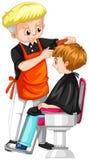 Petit garçon en ayant la coupe de cheveux après le coiffeur illustration libre de droits