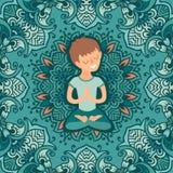 Petit garçon en position de lotus Photographie stock