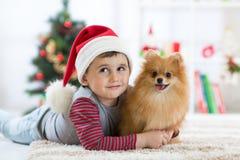 Petit garçon et chien à Noël Photos libres de droits