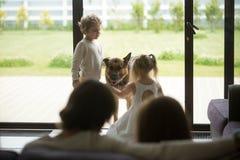 Petit garçon et fille jouant avec leur chien à la maison Photographie stock