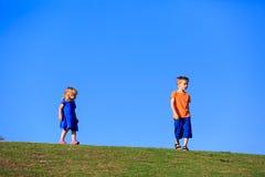 Petit garçon et fille marchant contre le ciel bleu Photographie stock