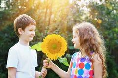 Petit garçon et fille riants tenant le tournesol Image stock